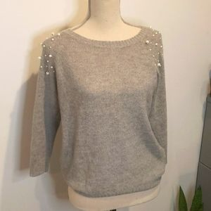 3/$30 -F21 Pearl Embellished Thin Knit Sweater